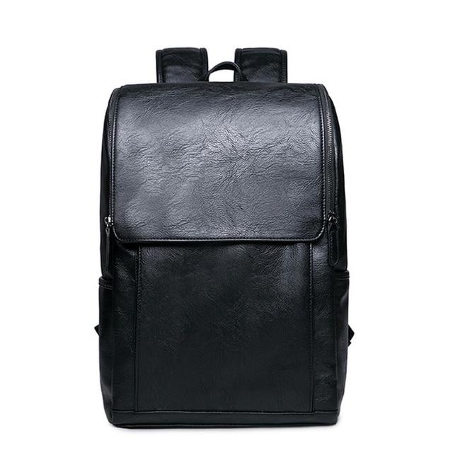 Men Laptop Backpack Black PU Leather Rucksack Large Men's Business Travel Backpacks Teenage Boys School Backpacks mochila XA676H