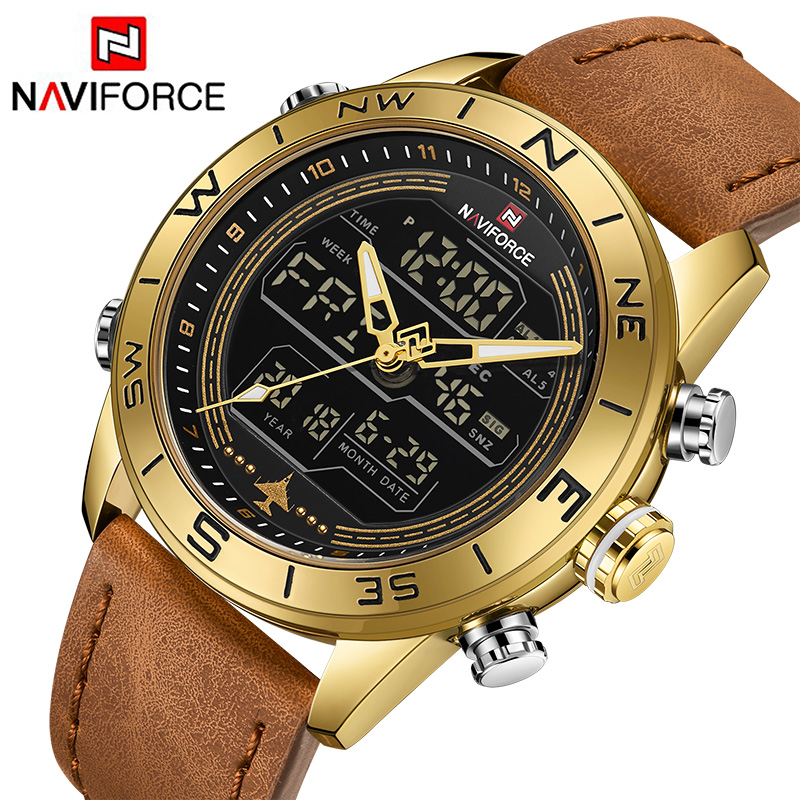 NAVIFORCE New Men Watches Led Casual Sport Military Watch Analog Quartz Waterproof Year Month And Week Display Wristwatches