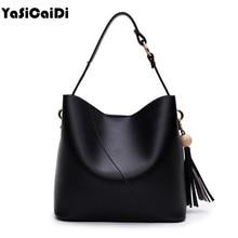 YASICAIDI Bucket Ladies Bags Pu Leather Handbags Luxury Women Bags Designer Famous Brand Tassel vintage Women Crossbody Bags Sac