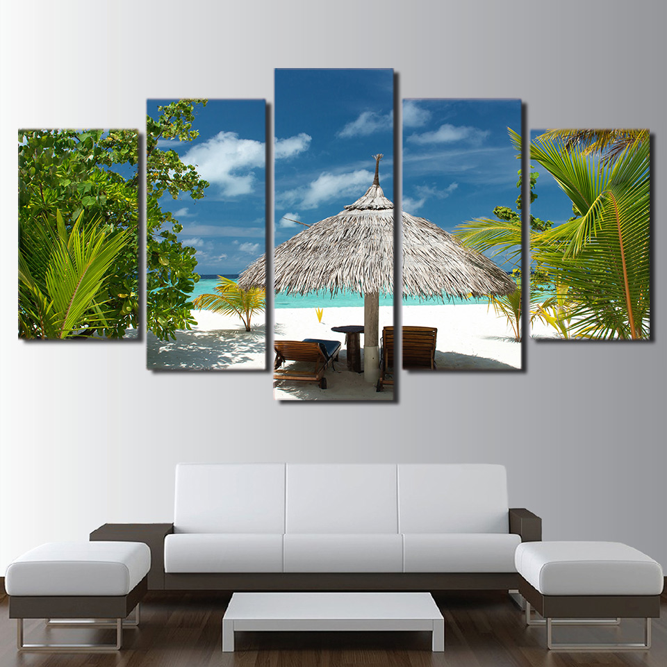 Living Room HD Printed Home Decor Painting 5 Panel Tropical Island Palm Tree Scenery Modern Wall Art Pictures Poster Framework