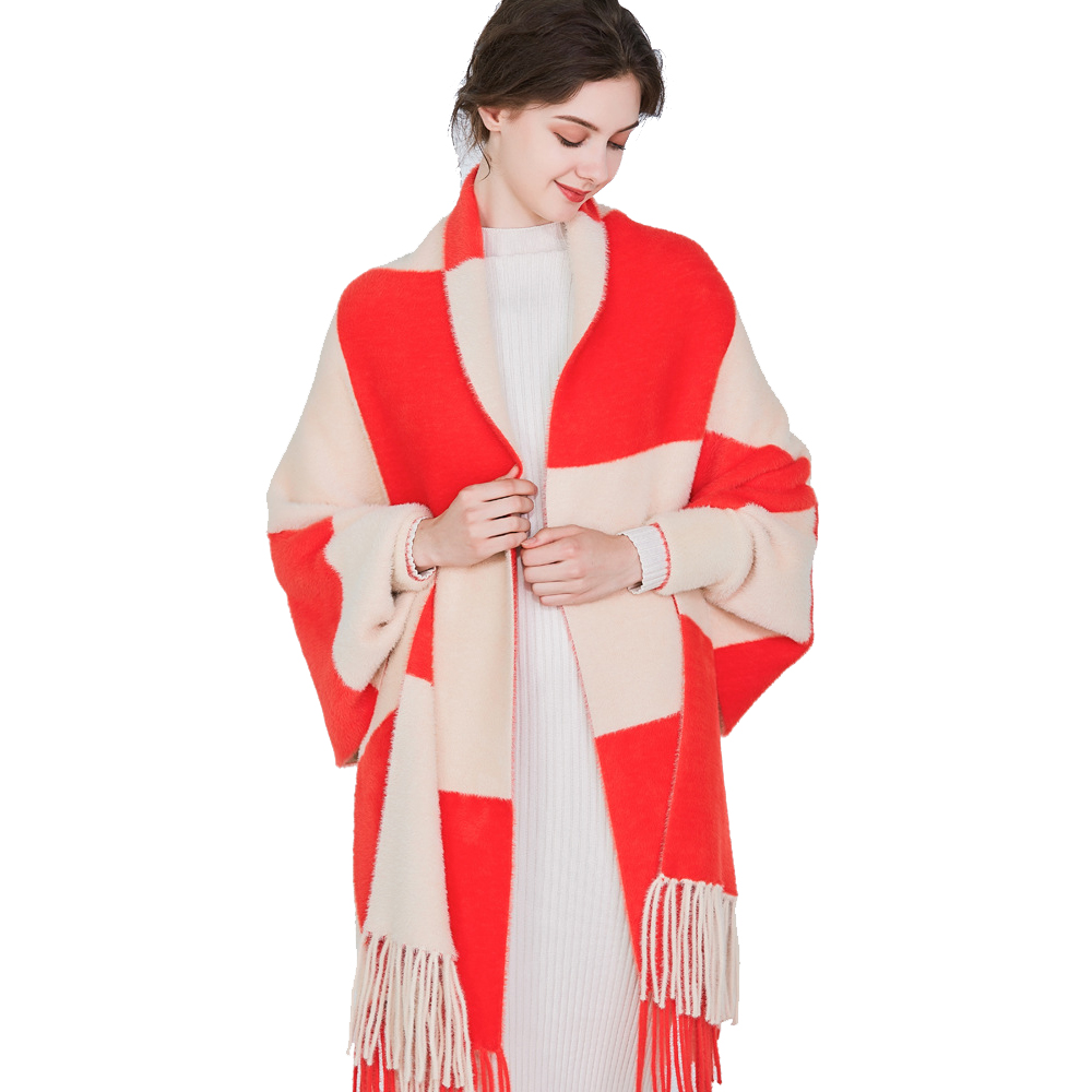 Brand New design with sleeve Poncho scarf winter warm Mink Cashmere Cloak Cape tassel Blanket Knitted Poncho Sweater Coat Shawl