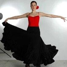 Профессиональные длинные фламенко юбки для женщин Дамы Красный Черный танцевальный костюм для фламенко платье для испанского фламенко
