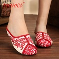 PHYANIC New 2017 Embroidered Cotton Fabric Ethnic Style Slipper Shoe Flat Heel Slingbacks Women Vintage Shoes Wholesale