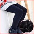 Nova Marca 2016 Outono Inverno Meninas Leggings Sólidos Cotton Além Disso Velvet Quente Skinny Slim Calças Moda Infantil Calças das Crianças