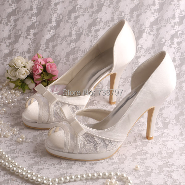 Wedopus MW662 Custom Handmade High Heels Ivory Bridal Shoes Wedding Pumps Peep Toe Dropship