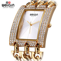 WEIQIN Crystal Diamond Gold Watches Women Luxury Famous Brand Quartz Clock Female Ladies Fashion Wrist Watches Montre Femme 2017