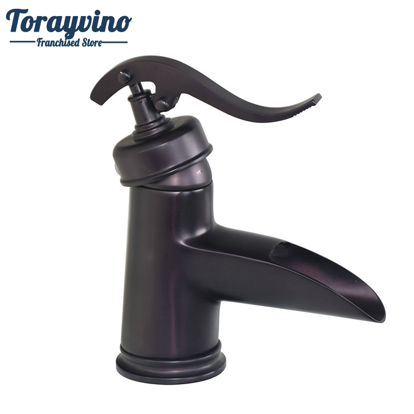 Torayvino Bathroom Faucet Basin Mixer Oil Rubbed Black Bronze Ceramic Basin Deck Mounted Sink Single Hole Mixer Tap Faucet black oil rubbed bronze bathroom accessory wall mounted toothbrush holder with two ceramic cups wba197