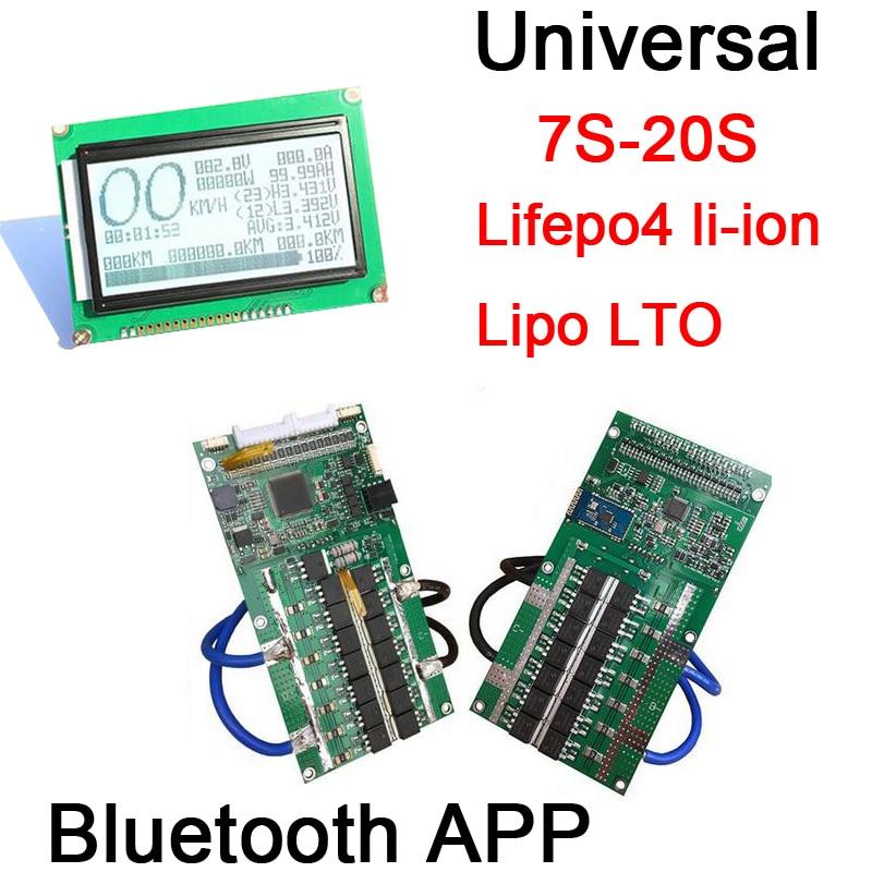 Bluetooth APP Smart display 7S 20S Lifepo4 li ion Lipo LTO Battery Protection Board BMS 400A