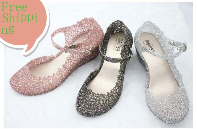 69db074edd9108 Free Shipping Women Summer Melissa Shiny Jelly Shoes Ladies Crystal  Foothold Flower Slipsole Nest Hollow Out Sandals