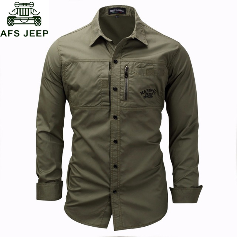AFS JEEP Brand Military Shirt Men Long Sleeve Casual Slim Fit Mens Shirts Camisa Masculina 100% Cotton High Quality Shirt Hombre