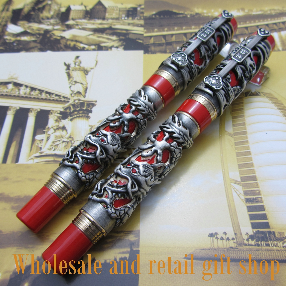 2PCS JINHAO J900 Carving Dragon and Phoenix Lucky Clip Fountain Pen and Rolle Ball Pen Chinese Auspicious Dragon fountain pen jinhao j200 dragon and phoenix antique gold and red screw heavy pen chinese auspicious dragon