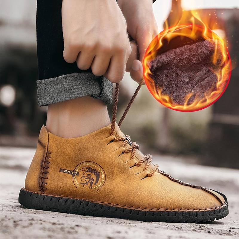 yellow À Nouveau Haute La Étanche Cuir Hiver Cuero Casual Main Chaussures Zapatos Qualité Hommes En Bottes Véritable khaki Formelle Black Neige xqA0R7x