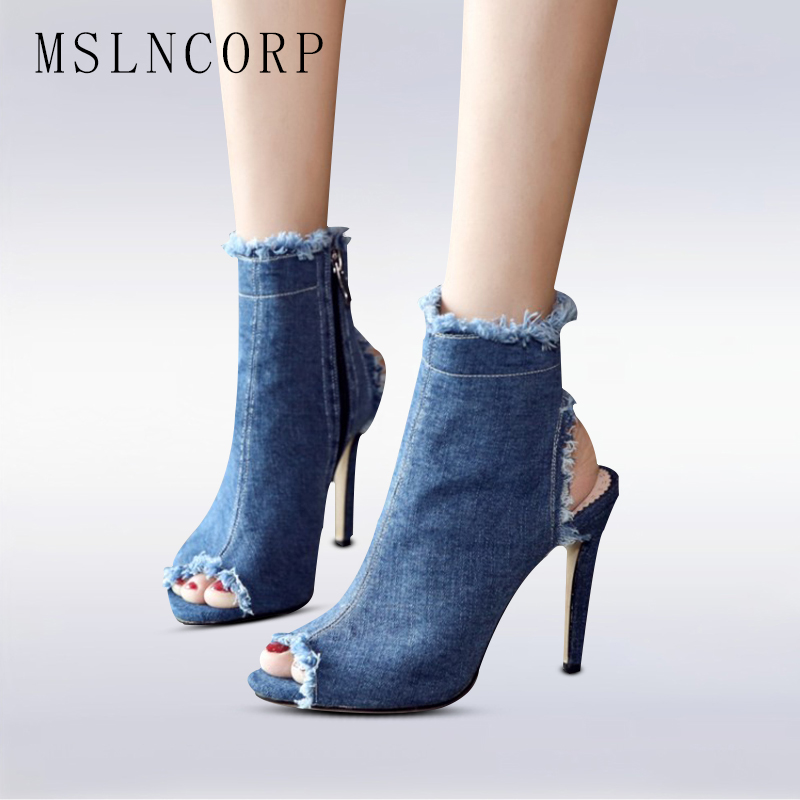plus size 34-43 Fashion Women Summer Gladiator sandals Casual Ankle Jeans Thin High Heels Open Peep Toe Denim Zipper Boots shoes 2016 retro cut outs design women summer boots open toe sandals plus size 41 42 43 44 45 thin heels summer shoes free shipping