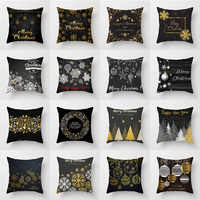 Christmas Cushion Cover Black and Golden Snowflake Wreath Print Decorative Pillow Cases for Sofa Car Bedroom Home Decor Covers