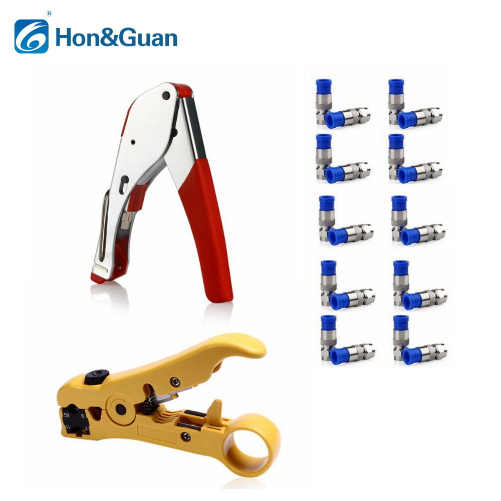 1Set Network Tool with 1pc Compression Crimp +20pcs RG6  Connectors +1pc Cable Cutter Tool Wire Stripper Stripping Tool1Set Network Tool with 1pc Compression Crimp +20pcs RG6  Connectors +1pc Cable Cutter Tool Wire Stripper Stripping Tool