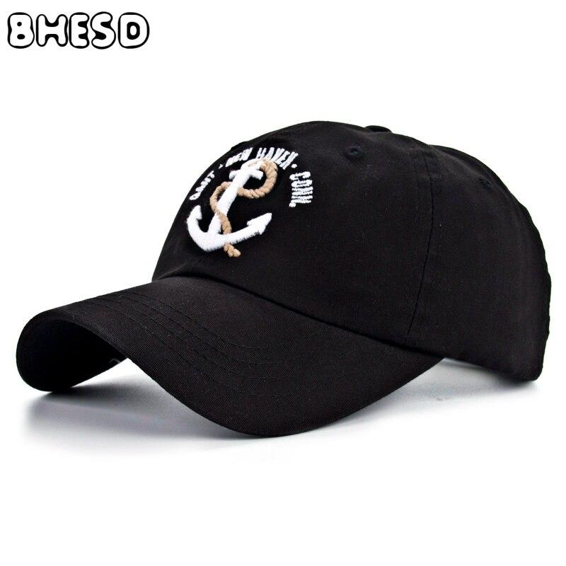Prix pour BHESD 2017 Ancre broderie Noir Casquette de baseball Hommes Papa chapeau Femmes Coton Snapback chapeaux kepka Casquette Os gorras hombre JY-129