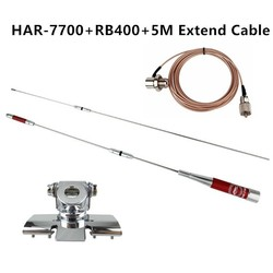 HAR-7700 Dual Band UHF/VHF 145/435MHz 150W Antenna+ Nagoya RB-400 Antenna Clip Mount(Silver) +5M Extend Cable