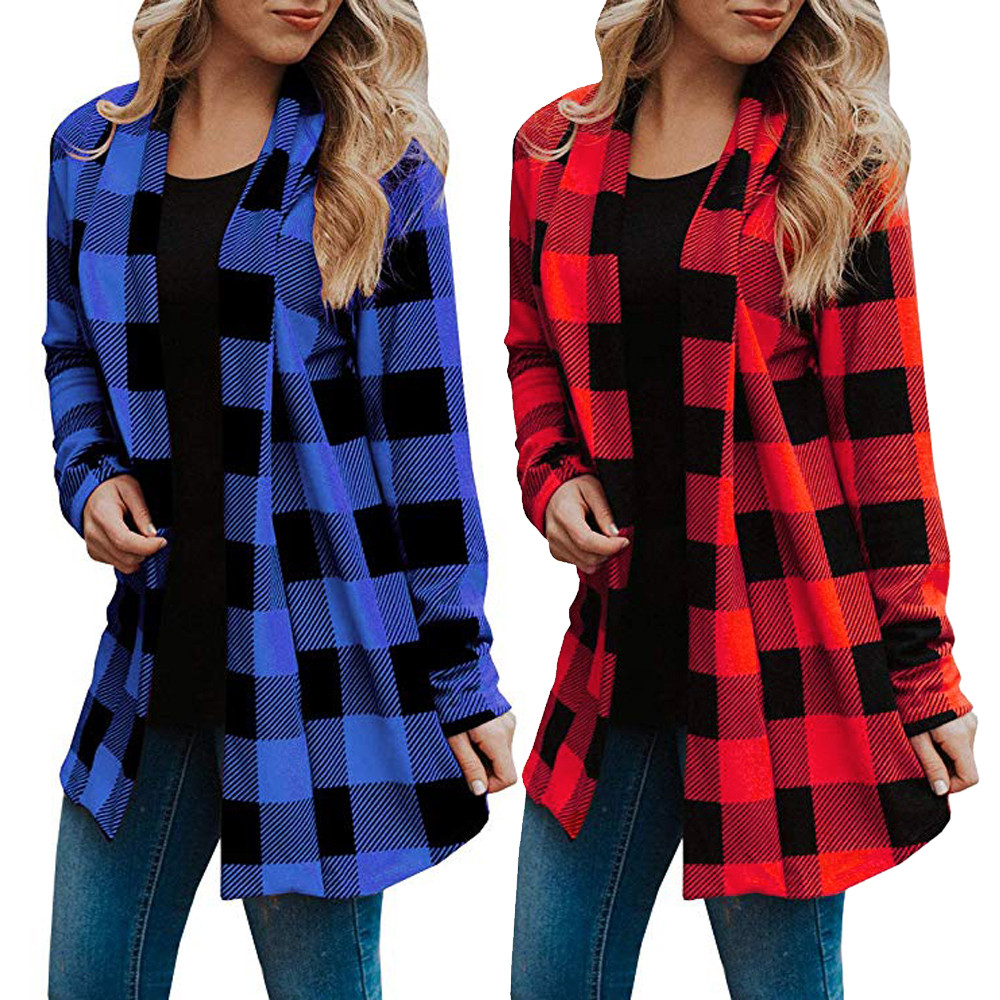 US $3.87 15% OFF|2019 Autumn Plaid Cardigan Women Coat Casual Long Sleeve Knitted Cardigans Elbow Patchwork Knitting Sweater Tops Poncho XXL#5% in