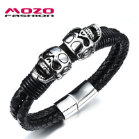 New 2016 Men Stainless Steel Black Leather Skull Bracelets Bangles Punk Style Fashion Wrap Bracelet Handmade