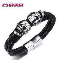 New 2016 Men Stainless Steel Black Leather Skull Bracelets Bangles Punk Style Fashion Wrap Bracelet Handmade