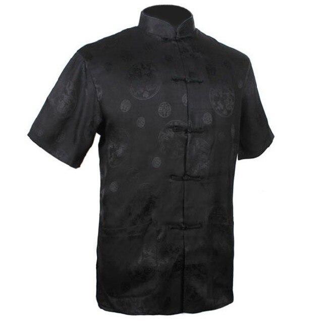 New Arrival Black Chinese Men's Silk Satin Kung Fu Shirt Hombre Camisa Summer Short-sleeve Clothing Size S M L XL XXL XXXL M0016