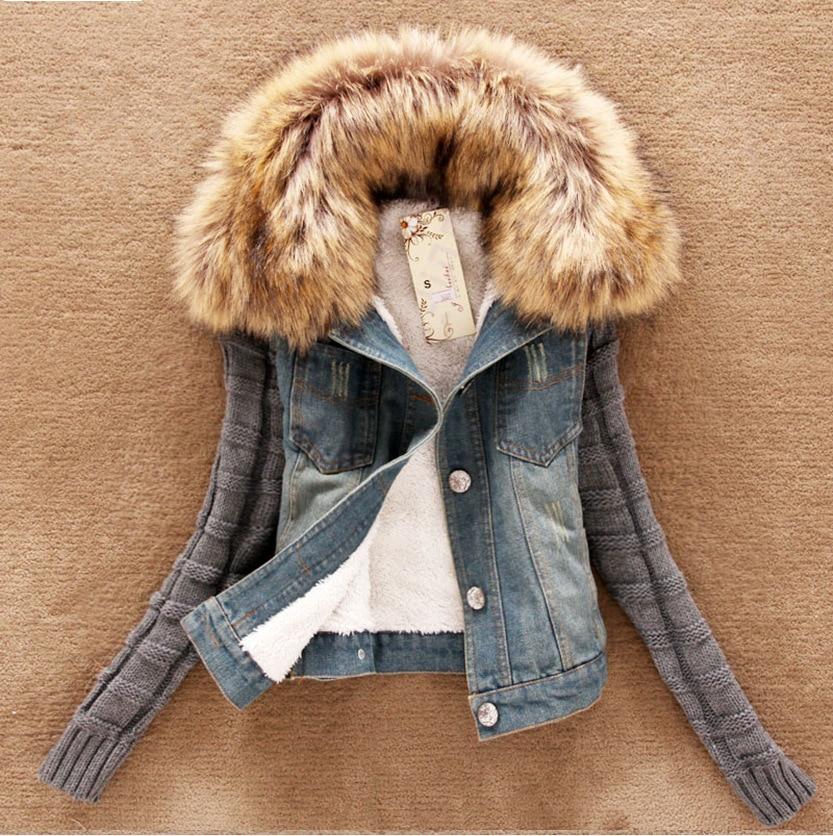 Autumn winter jacket women's army blue Denim fur collar coat detachable warm faux fur liner   parkas   jeans women jacket 4XL