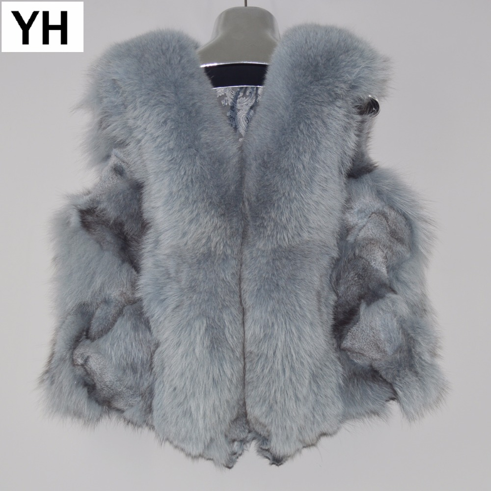 Vest Coat Fox-Fur Winter Women Real 100%Natural Genuine Gilet Short Sleeveless New Warm title=