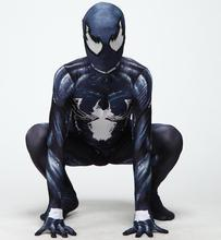 NEW 3D Venom Symbiote Spiderman Costume Movie Venom Cosplay Marvel Black Zentai Suit Halloween Costumes For Men Adult