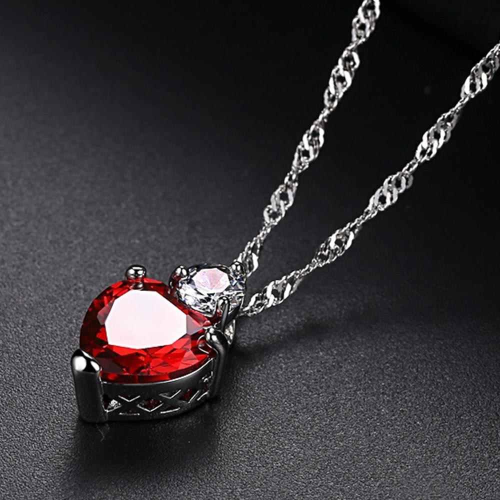 Beiver Сердце CZ комплекты украшений для женщин родиевое покрытие Красный AAA кубический цирконий ожерелье и серьги Bijoux Femme Бесплатная доставка