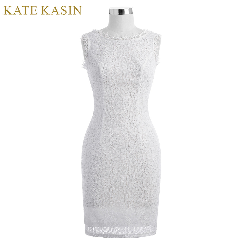Kate Kasin White Short Cocktail Dresses knee lengt...