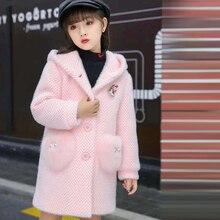Детское зимнее пальто для девочек, новое модное шерстяное пальто для девочек-подростков, осенняя куртка, теплая длинная верхняя одежда, детская ветрозащитная одежда