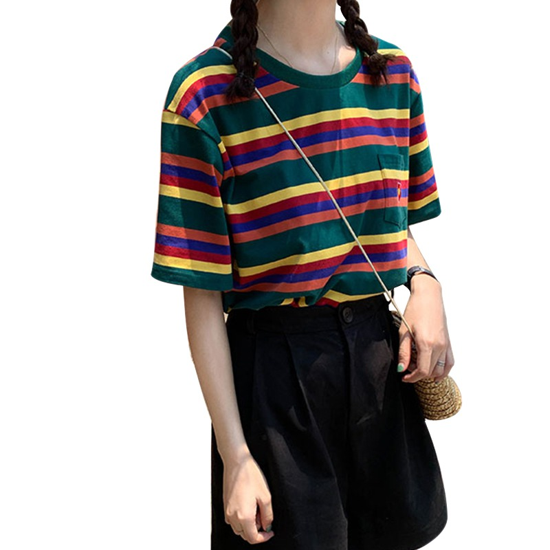 <font><b>2019</b></font> <font><b>Summer</b></font> Tops <font><b>Women's</b></font> <font><b>harajuku</b></font> Casual <font><b>T</b></font> <font><b>Shirt</b></font> Short Sleeve O-Neck Rainbow Striped <font><b>Flower</b></font> Loose Tee camisetas verano mujer image
