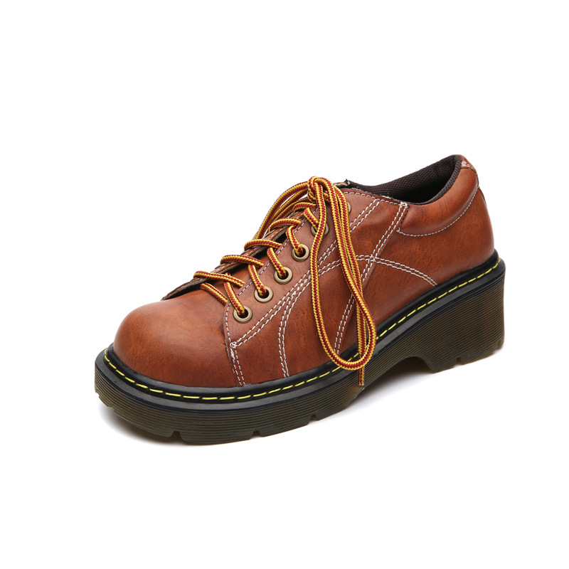 Women Oxfords Shoes Black/Brown Retro Casual Leather Flats Shoes Female Square Toe  Lace-Up Fashion Vintage College Style front lace up casual ankle boots autumn vintage brown new booties flat genuine leather suede shoes round toe fall female fashion