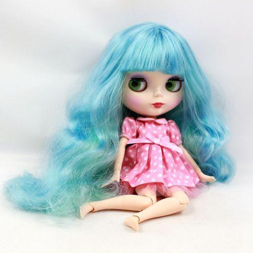 Блит розовый 12 для кожи телесного цвета куклы 19 длинные совместное волос синий