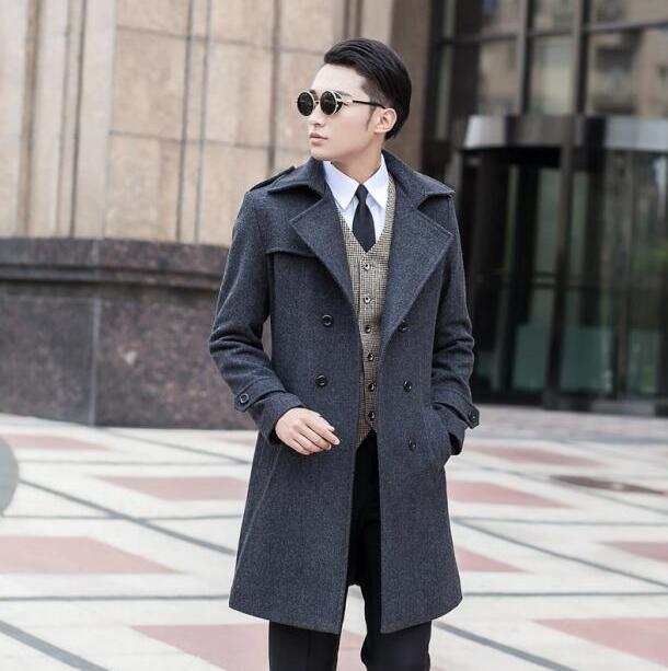 Grey 2019 Autumn Commercial Wool Coat Men Fit Slim Mens Pea Coat Woolen Fashion Handsome Coats Cashmere Plus Size S - 8XL 9XL