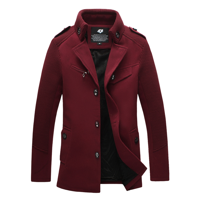 2015 british style single breasted men winter woolen coat  peacoat outerwear M L XL XXL 3XL 4XL JPF12