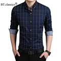 2016 Fashion Brand dress shirt Men Clothes Slim Fit Men Long Sleeve Shirt Plaid Cotton Casual Men Shirt Social Plus size shirt