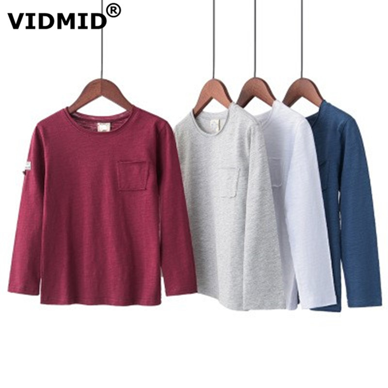 VIDMID T-Shirts Long-Sleeve 7072 Tops Tees Teenage Boys Kids Cotton Children Casual Big