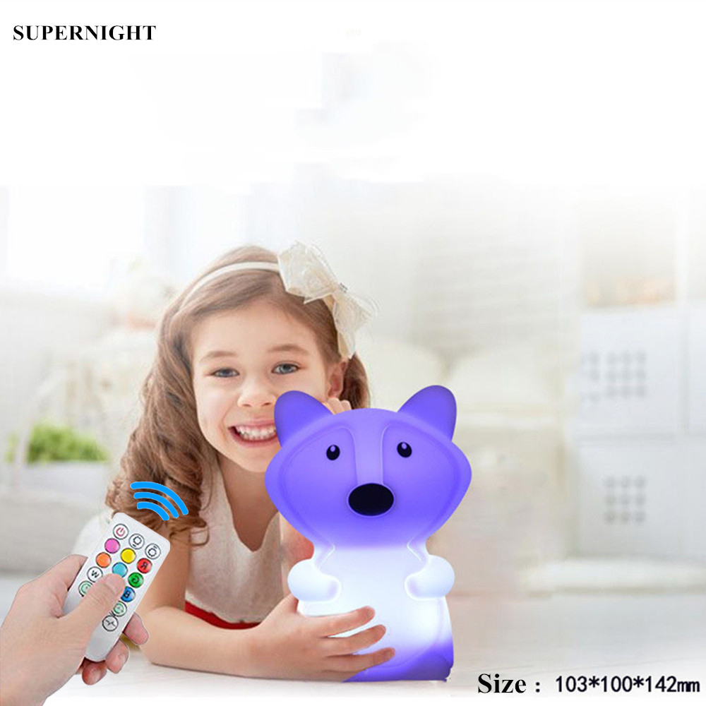 Cartoon Fox LED Night Light Remote Control Timer Touch Sensor 9 Colors USB Silicone Bedroom Bedside Lamp For Children Kids Baby