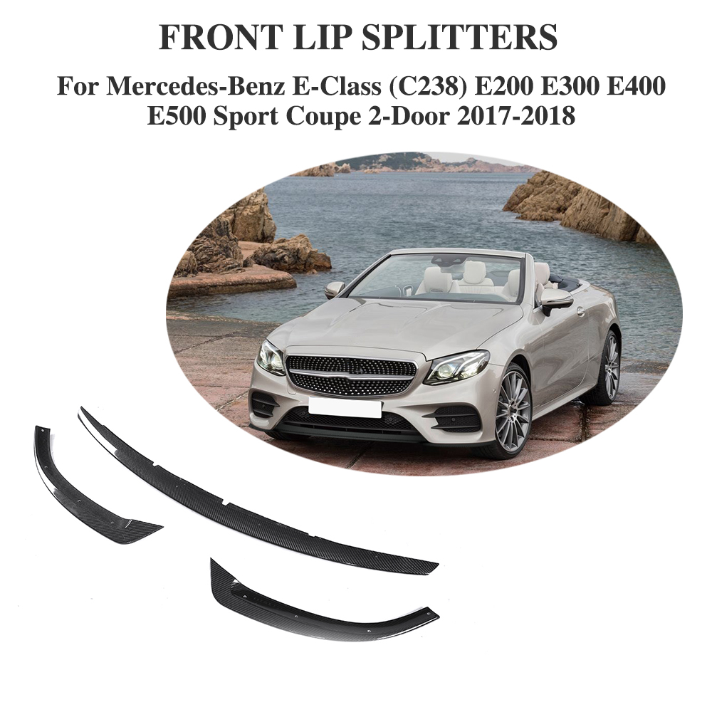 Carbon Fiber Car Racing Front Bumper Lip For <font><b>Mercedes</b></font> Benz E Class C238 E200 <font><b>E300</b></font> E400 E500 Sport <font><b>Coupe</b></font> 2 Door 17-18 image