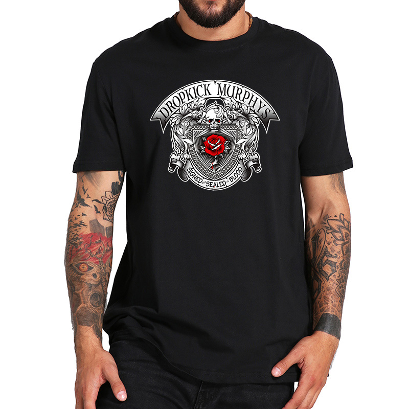EU Size 100% Cotton   T     Shirt   Dropkick Murphys Signed and Sealed in Blood Rose Casual Breathable Fitness Homme Crew Neck Tops