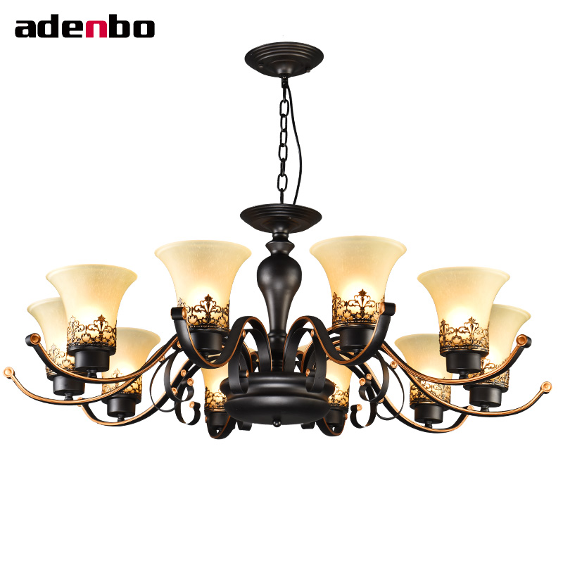 Black Iron Wrought Chandeliers Lighting Fixtures Living Room Bedroom LED Chandelier With Glass Shade For Home Decor Lighting