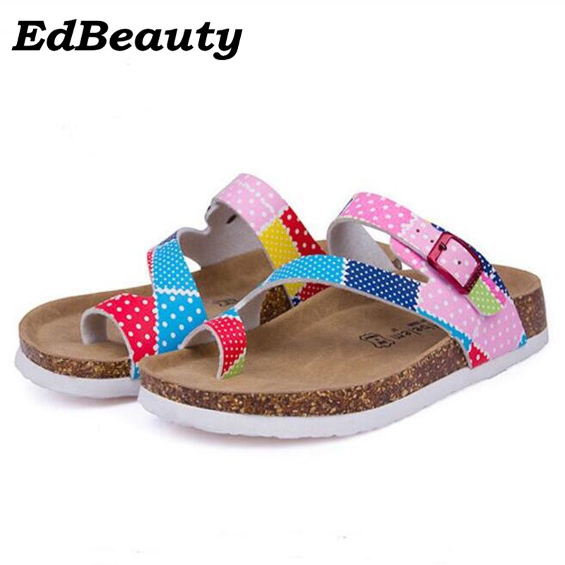 Summer style New Women Sandals Outdoor Casual Flats Solid Cork Slippers Mixed Color Beach Shoes Slides Plus Size 35-43 new 2016 women rhinestone gladiator sandals summer flat casual shoes beach slippers size 35 39