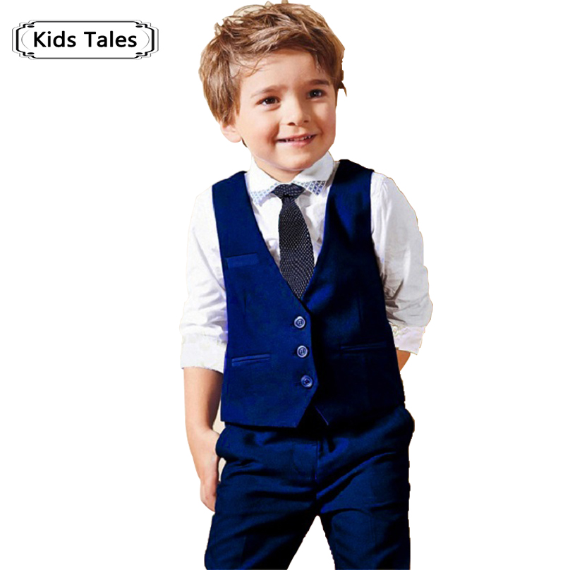 ST147 2018 new boys gentleman suit shirt + vest + pants + tie set.boy fashion suit for children kids clothes clothing set retail one button design longline woolen coat