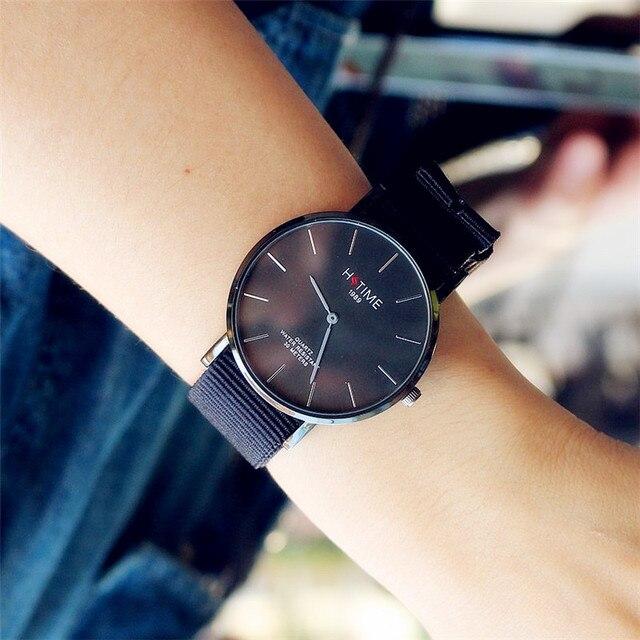 Promotion casual black nylon strap black dial Ultra-thin Daniel type women men w