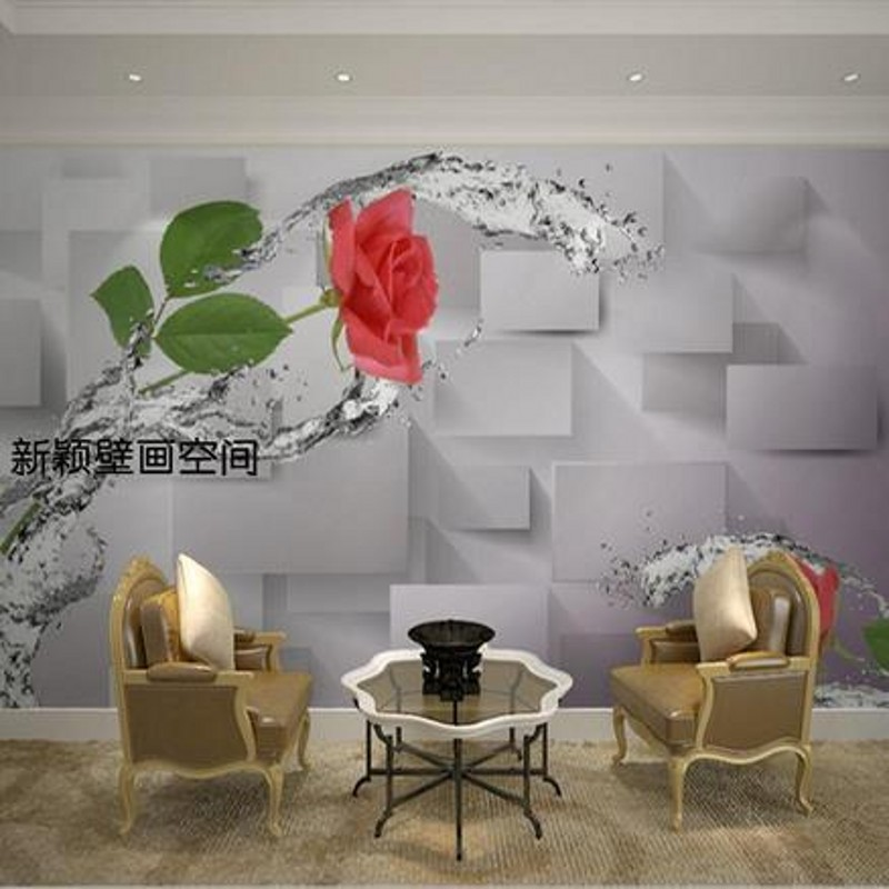 Beibehang stereoscopic 3d red roses romantic wedding room for Red living room wallpaper