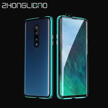 Luxury Magnetic Adsorption Metal Case for Oneplus7 7Pro Front Back Double Glass Screen Protector One Plus 7pro 360 Full Cover