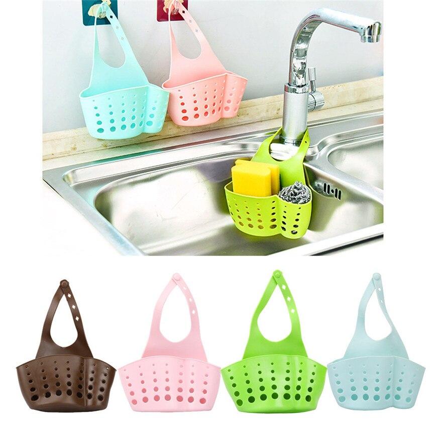 Sink Shelf Soap Sponge Drain Rack Bathroom Holder Kitchen Storage Suction Cup Kitchen Organizer Sink  Kitchen Supplies