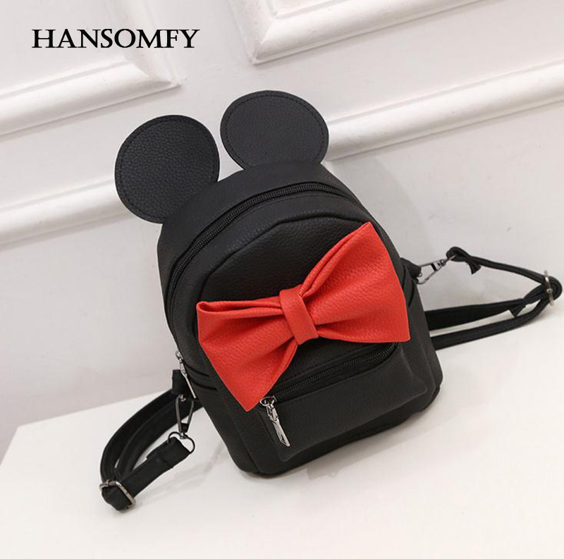 HANSOMFY Brand Fashion Women Bow Tie Mini Backpack Girls Cute Cartoon Mickey Shoulder Bags Female Student