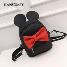Hansomfy марка женская мода галстук-бабочку мини рюкзак девушки милый мультфильм микки сумки на ремне студентка лук-узел back мешок